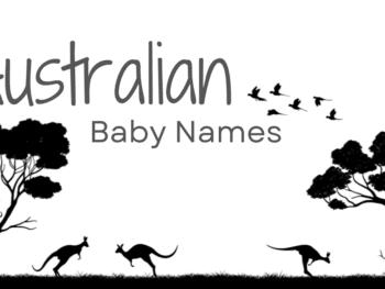 Australian baby names on Australian background