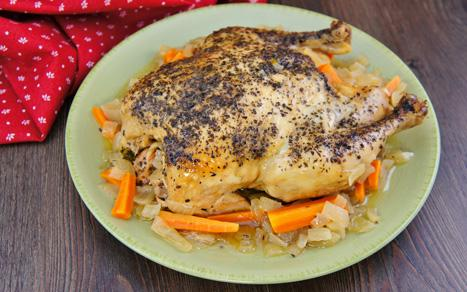 Basil Garlic Whole Chicken with Vegetables - Moms Who Think