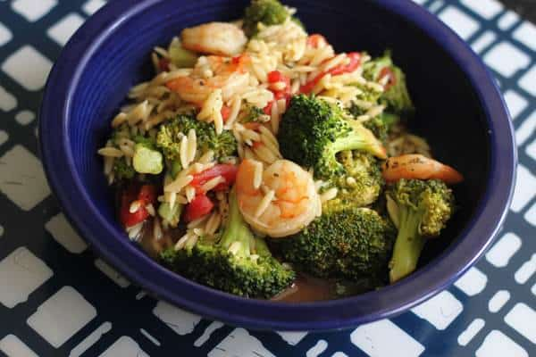 Broccoli Shrimp with Orzo