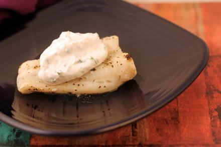 Broiled_Halibut_with_Garlic-Chive_Sour_Cream