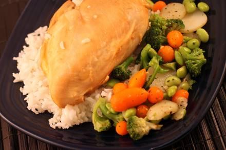 Chicken in Orange Sauce over Fluffy Rice