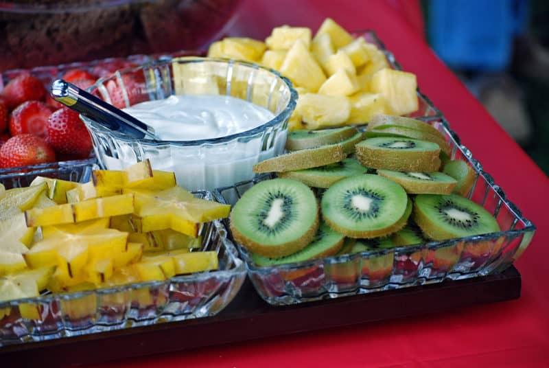 Fruit Dip with fruit. Kiwi, pineapple, star fruit, strawberries.