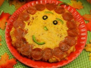 Halloween Jack O Lantern Pizza