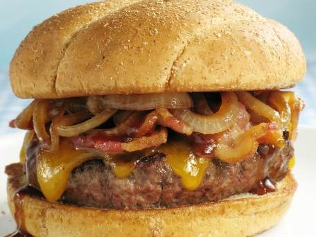 Bacon Onion Cheddar Burger A cheddar filled and topped burger with ...