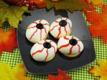 Halloween eyeballs on crackers