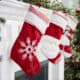 Baby's First Christmas Stocking hanging on the hearth