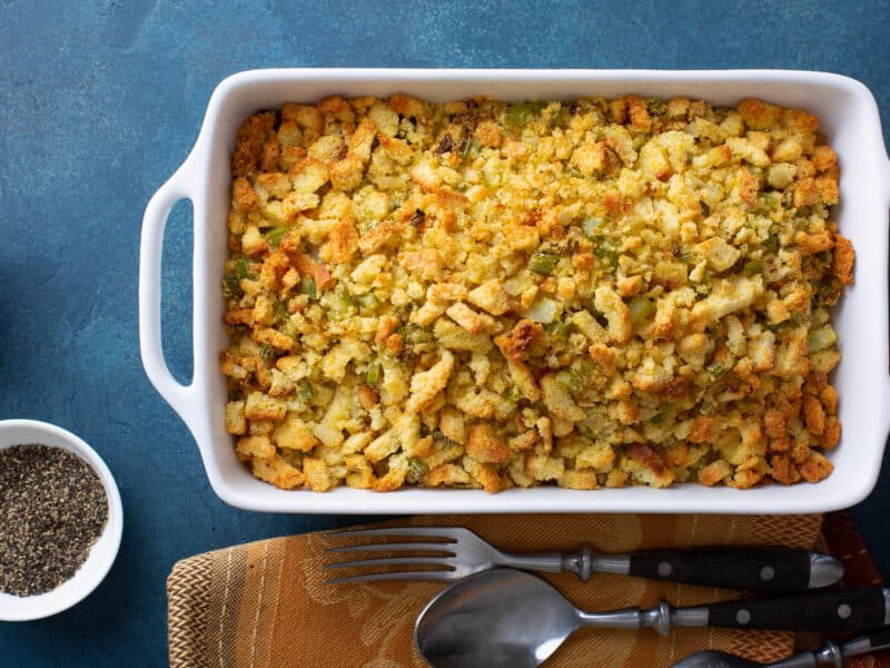Green Onion Cornbread Stuffing - large baking dish of cooked stuffing