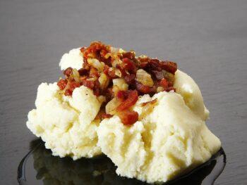 mashed potatoes bacon ham