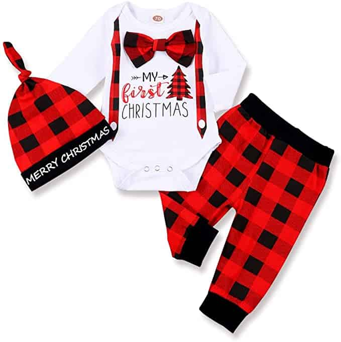 Plaid My First Christmas outfit