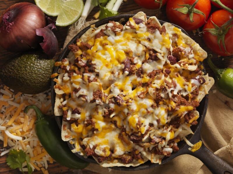 onion beef nachos
