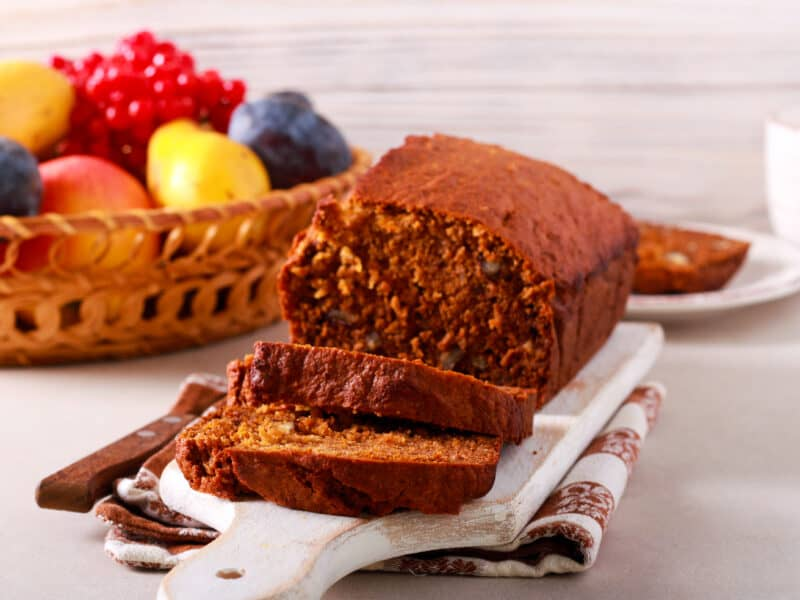 Pumpkin nut bread goes very well with fresh fruit for breakfast or anytime.