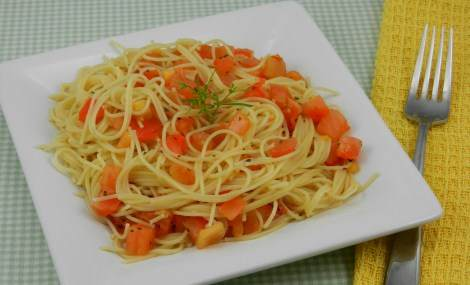 tomato basil garlic angel hair pasta recipe